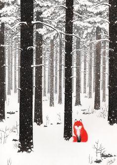 Fox + Trees + Forest + Winter + Black & white + Orange = Uuju
