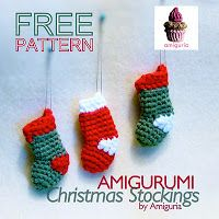 Amigurumi Christmas Stocking Cute, easy and fast to make! NO-sewing project! Here it is another cute FREE amigurumi christmas patter. Mini Christmas Stockings, Christmas Stocking Pattern, Crochet Christmas Ornaments, Holiday Crochet, Christmas Knitting, Christmas Crafts, Christmas Ideas, Mini Stockings, Christmas Patterns