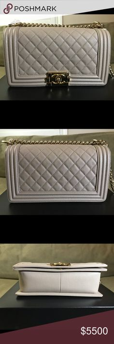 AUTHENTIC Chanel Dark Beige Old Medium Caviar Boy Includes box, dust bag, authenticity sticker with matching authenticity card, original tag and care booklet. Only flaw is a tiny pinpoint chip next to CC lock (see photos). Barely noticeable but want to disclose it nonetheless. Otherwise, in like new condition. CHANEL Bags Shoulder Bags