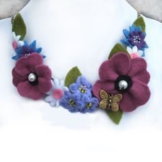 Summer Flowers Butterfly Necklace, Felt Flowers Statement Jewelry, Poppies, Forget Me Nots, Cornflowers and Daisies Bib Necklace