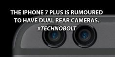 Why would you need two rear cameras on phone? Can't wait to see if its true! Small Business Start Up, Small Business Marketing, Business Technology, Iphone 7 Plus, Cameras, How To Plan, Camera, Film Camera