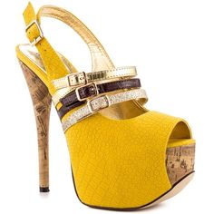 Luchiny yellow snake heels Yellow snake texture heels . They are an 8.5 and do not fit me because my feet shrank . Worn twice . Little black mark at bottom as pictured . Luchiny Shoes Platforms