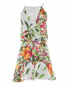 Vestido curto de seda estampa tropical Skazi