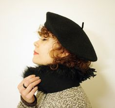 Vintage black beret by nemres on Etsy, $19.00