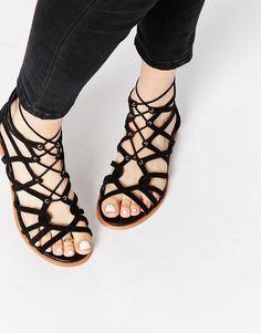 33c0dc5cf454 Shop KG By Kurt Geiger Black Suede Gladiator Strappy Flat Sandals at ASOS.