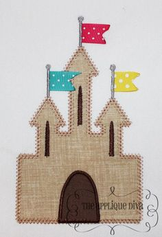 Beach Ribbon Sand Castle Embroidery Design. Machine, decorative applique. Tack flags with fine thread.