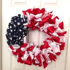 Dress up your door for the Fourth of July and patriotic events with a gorgeous ribbon wreath. This beautiful wreath is easier to make than it looks!
