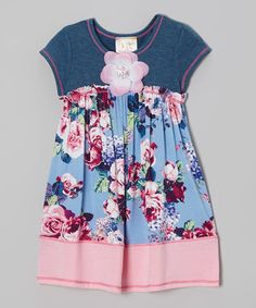 Loving this Blue & Pink Floral Denim Dress - Toddler & Girls on #zulily! #zulilyfinds
