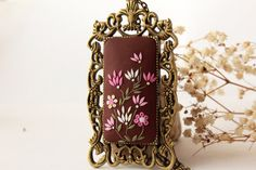 Pink and brown necklace hand embroidered by LandOfJewellery