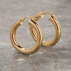 2baffe08e Gold plated sterling silver thick hoop earrings. Made in Italy for Loel and  Co