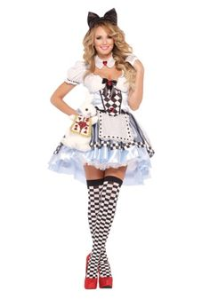 Wonderland just won't be the same when you show up in this Plus Size Delightful Alice Costume. It's cute, sassy, and just a little bit dangerous. It comes in sizes 1x-5x and is $58.99 from www.halloweencostumes.com