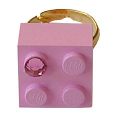 Light Pink LEGO R brick 2x2 with a Pink by MademoiselleAlma  #MademoiselleAlma #LEGO #ETSY