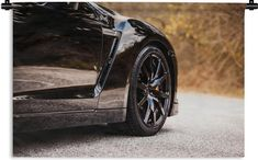 Wandkleed - Nissan GTR - Auto - Zwart - 60x40 cm - Wandtapijt