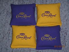 Crown Royal Embroidered Corn Hole Bags Set by CREATIVECORNHOLEBAGS, $45.00