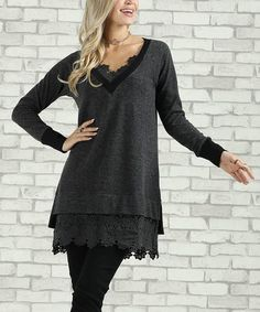Another great find on #zulily! Charcoal Lace-Hem V-Neck Tunic - Plus Too #zulilyfinds