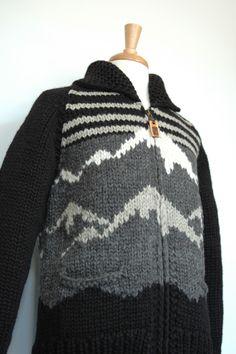 Vulture Japan.  Mountain Range Black Sweater Vulture, Mountain Range, Black Sweaters, Knits, Custom Design, Men Sweater, Japan, Knitting, Inspiration