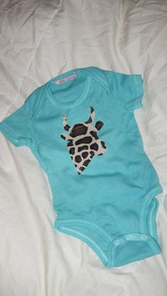 Cow giraffe baby onesie with Caboosee back by MomMadePeeks on Etsy, $13.00
