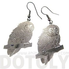 Barn Owl Bird Shaped Animal Themed Dangle Earrings in Gunmetal Silver $10 #owls #birds #animals #jewelry #earrings