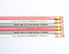 Les crayons de la Collection Paris - Pastel Rose, gris, blanc, ensemble de 6 &