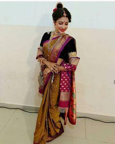 Fulfill a Wedding Tradition with Estate Bridal Jewelry Marathi Bride, Marathi Wedding, Indian Wedding Bride, Saree Wedding, Marathi Nath, Marathi Saree, Nauvari Saree, Pure Silk Sarees, Bridal Make Up