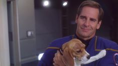 """startrekhugs: """" [Image: Captain Archer lets Porthos out of quarantine and gives him lots of cuddles. From A Night in Sickbay. Images from Trekcore.] """""""