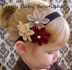 Baby Felt Flower Headband - Infant Headband - Red Gray Tan Black - Toddler…