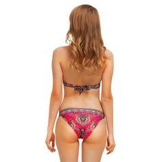 4a2e69514e5ce Hot Pink Boho Bikini Multi Colored India Print Two Piece Swimsuit Hippy  Gypsy Sizes Small Medium Or Large