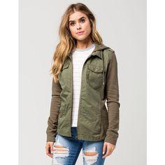 Ashley Knit Sleeve Womens Jacket ($40) ❤ liked on Polyvore featuring outerwear, jackets, olive, knit sleeve jacket, hooded jacket, ashley jacket, green military jacket and pocket jacket