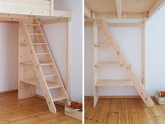 Stair racks and shelf stairs of the carpentry Hardys loft beds . - Stair racks and shelf stairs of the carpentry Hardys loft beds Stair rack - Loft Bed Stairs, Tiny House Stairs, Tiny House Loft, Tiny House Design, Loft Beds, Stair Shelves, Loft Bed Plans, Kids Room Design, Bedroom Loft