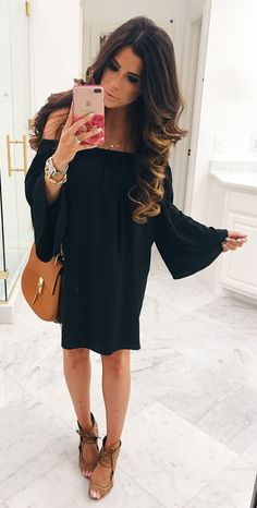 d93709e5d5a50f 40+ Adorable Spring Outfits To Update Your Wardrobe. Black Off Shoulder  DressOff ...