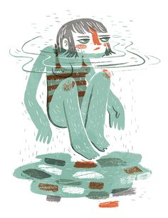 """""""Sauna and Swim"""" , made by: Pam Wishbow - Illustration (Girl in water) Art And Illustration, Illustrations And Posters, Character Illustration, Magazine Illustration, Animation, Monster, Magazine Art, Storyboard, Cute Art"""
