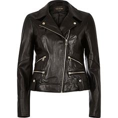 Black leather biker jacket $200.00