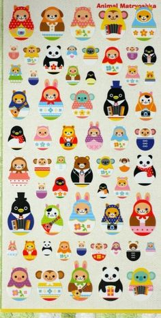 mural idea Super Kawaii Animal in Matryoshka doll Shape Japanese sticker. via Etsy. Matryoshka Doll, Kokeshi Dolls, Kawaii Stickers, Cute Stickers, Thinking Day, Kawaii Cute, Cute Illustration, Paper Dolls, Bunt