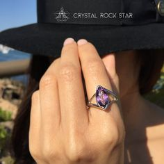 Amethyst Marquise Solitaire Sterling Silver Ring Size 6 and 7 - Double Band Dragons Eye Modern Design