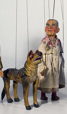 Czech puppets .Fairy tale Little Red Riding Hood