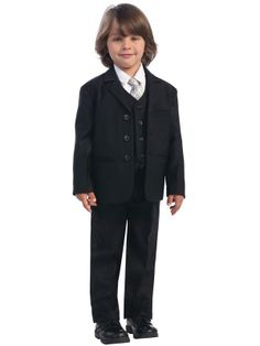 Adorable Baby Clothing -  Black 5 Piece Boy's Suit With Vest, $54.95 (http://www.adorablebabyclothing.com/black-5-piece-boys-suit-with-vest/)