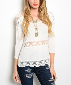 Another great find on #zulily! Ivory Lace-Panel Three-Quarter Sleeve Top #zulilyfinds