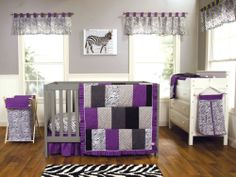 Baby Girl Crib Bedding Set purple Grape Expectations Trend Lab NEW
