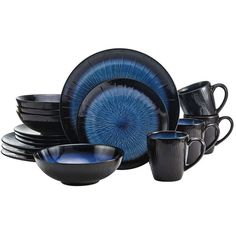 Reed Blue 16 Piece Dinnerware Set ($70) ❤ liked on Polyvore featuring home, kitchen & dining, dinnerware, stoneware dinnerware, colored dinnerware sets, pattern dinnerware sets, blue coffee mugs and blue dinnerware