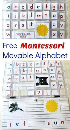 Free Montessori Movable Alphabet, Montessori Language Arts and Montessori Alphabet Printables for preschool and kindergarten, Montessori Preschool Activities, Montessori Toddler Activities, Montessori Materials, Montessori activities, moveable alphabet printable, moveable alphabet picture cards, Montessori moveable alphabet, moveable alphabet cards, Montessori alphabet cards, how to use Montessori moveable alphabet #Montessori #Alphabet #preschool #kindergarten #Montessoriactivities...