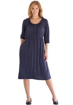 Plus Size Empire-waist dress, with ruffled trim image