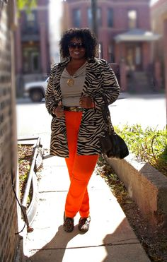 Curvatude - Fashion, Beauty and Living From a Plus Size Perspective: {ootd} Orange Sherbet & Zebra Print
