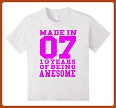 Kids 10th Birthday Gift T-Shirt Made In 2007 Awesome Pink 6 White - Birthday shirts (*Partner-Link)