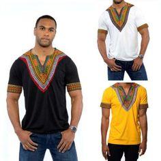 NEW Summer African Tribal Shirt Men Dashiki Print Succinct Hippie Top Casual Blouse Clothing Cotton Comfortable T shirt Tribal Shirt, African Dashiki, Hippie Tops, Team T Shirts, African Attire, Sport T Shirt, Casual, Hip Hop, Cotton