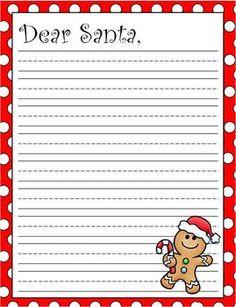 Christmas Holiday Dear Santa Lined Writing Paper