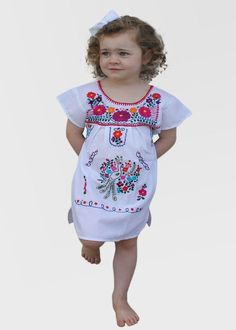 5e280b2492e1 Fashion Leggings For Toddlers. Embroidered Youth Dress  White - Del Mex - 1