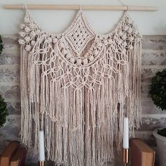 Lacy, dainty macrame dot wall hanging - handmade with care from natural, unbleached cotton on a natural wood dowel. Ready to Ship. Width including dowel: approx 23.5 | Length: approx 28 For orders local to Vineland, Ontario, contact me to arrange pick up and I will remove or