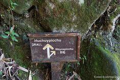 El signo en el tenedor de la ruta a Huchuy picchu