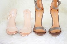 Perpex heels  and khaki satin heels from Public Desire
