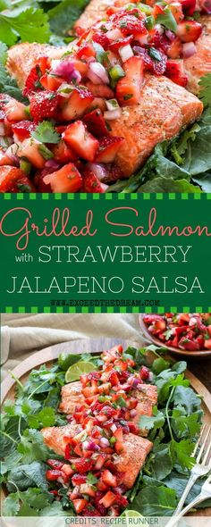 Grilled salmon that's crispy on the outside and tender on the inside with an awesome topping! Simply toss chopped strawberries, onion, jalapeno, drizzle with lime juice, sprinkle with salt and you're in for a sweet and spicy treat!
